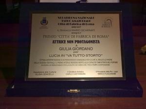 Targa premio attrice non protagonista Giulia Giordano